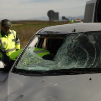 Estado del vehículo tras el atropello mortal de los ciclistas