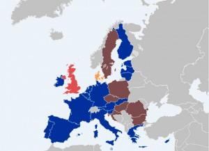 Mapa de la UEM. Los países en azul son los que comparten una única moneda (el euro).
