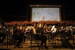Momento del concierto en la plaza de toros.