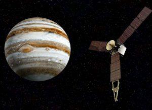 Esquema artístico de la Sonda Juno sobrevolando.