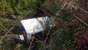 La maleza prácticamente ocultó al vehículo siniestrado.