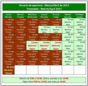 Calendario de visitas de Acinipo en abril.