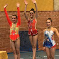 Las gimnastas del Club AGRA consiguieron cinco medallas en Estepona y en Moguer