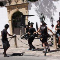 El rodaje se ha centrado hoy en el Picadero de la Plaza de Toros.