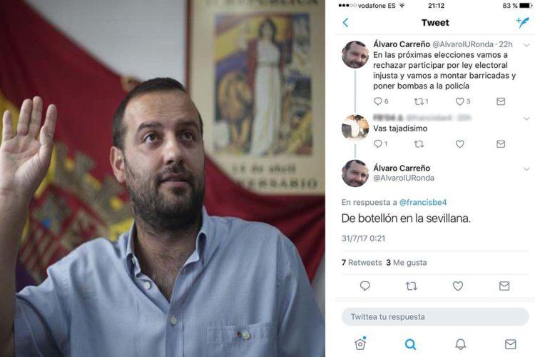 """Los sindicatos de la Policía Local y de la Policía Nacional exigen explicaciones a Álvaro Carreño (IU) por decir en las redes sociales """"vamos a montar barricadas y poner bombas a la policía"""""""