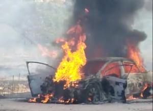 El incendio del vehículo ha provocado un fuego en una zona de encinas.
