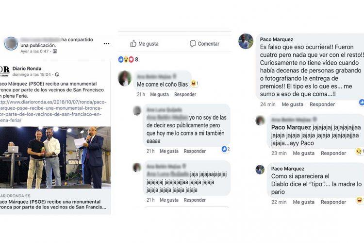 Paco Márquez (PSOE), además de acordarse de la madre del director de Diario Ronda le dice que le coma sus partes íntimas