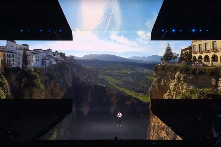 Samsung elige una imagen del Tajo de Ronda para la presentación de su nuevo móvil plegable, el Galaxy Fold, en San Francisco (EE.UU)