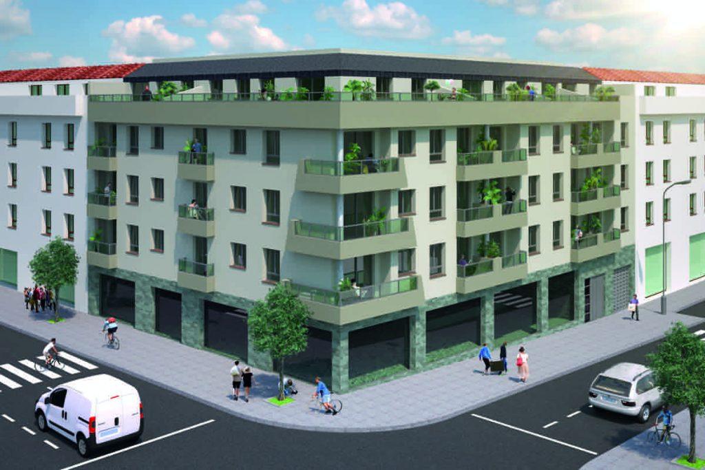 El Edificio Ventura, situado en la Avenida de Málaga, se compone de 18 pisos, 5 áticos, 32 plazas de garajes y trasteros a elegir