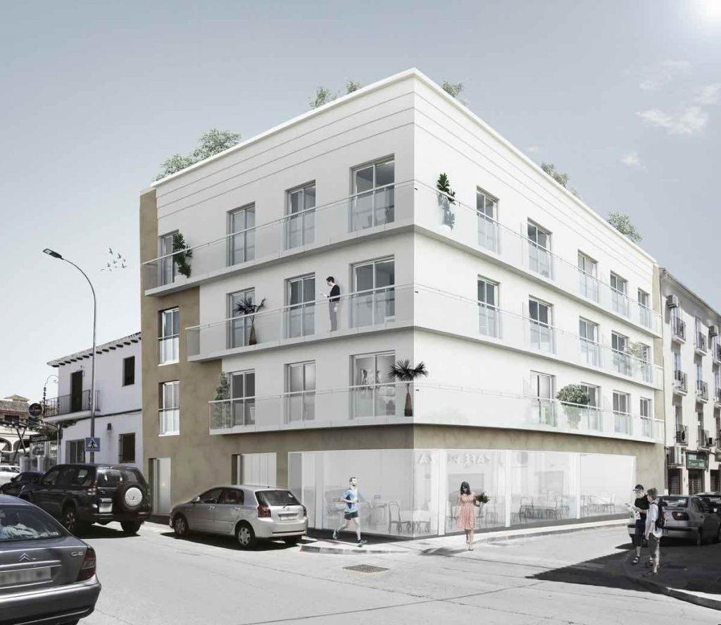 El Edificio Jaén, junto a la Plaza del Ahorro, se compone de seis viviendas de tres dormitorios en tres plantas, plazas de garaje y trasteros