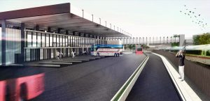 Recreación de la nueva estación de autobuses.