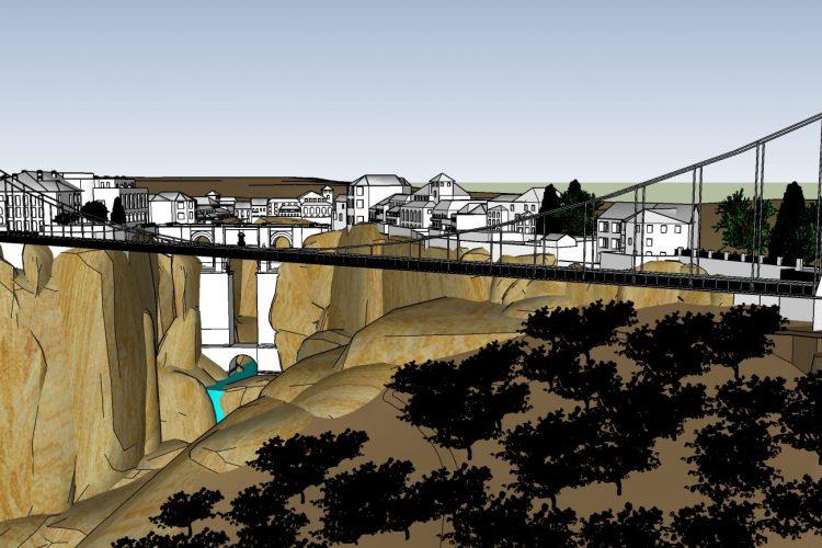 Un arquitecto rondeño propone construir un puente peatonal que cruce el Tajo desde el Parador a la plaza del Campillo