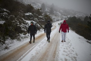 La nieve también cubría parte del carril de acceso al parque.