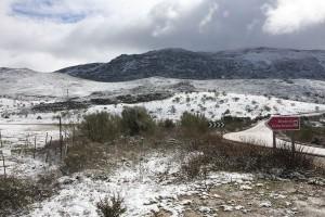 Muchos rondeños, serranos y visitantes han parado en la zona para fotografiarse con la nieve