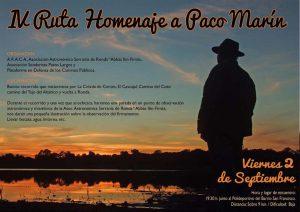 "Cartel ""IV Ruta Homenaje Paco Marín""."