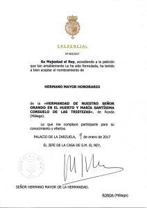 Las credenciales enviadas por la Casa Real.