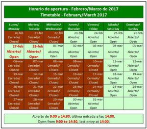 Agenda de visitas publicada por el facebook oficial de Acinipo.