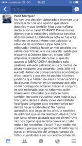 Mensaje de Márquez en Facebook.