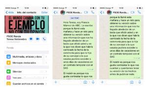 Los mensajes enviados a Valdenebro el día 13 de julio y que nunca tuvieron respuesta. Publicados con la autorización del periodista de ABC que los escribió.