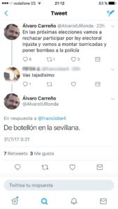 Captura del polémico tuit de Carreño.