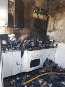 Incendio en cocina.