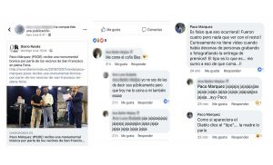 Secuencia de las conversaciones mantenidas en las redes sociales por Paco Márquez (PSOE).
