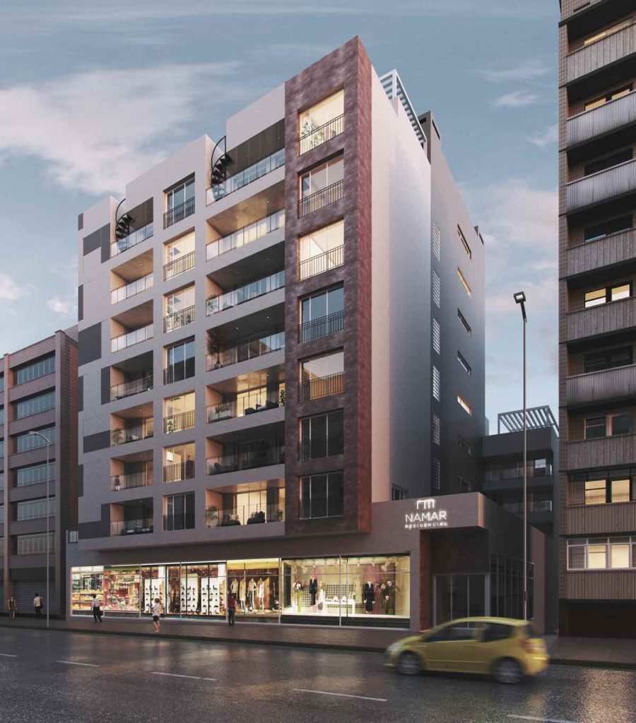 Namar Residencial es un edificio residencial en el centro de Málaga con 48 viviendas y áticos de obra nueva