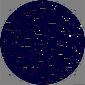 Mapa Celeste y localización de Venus.