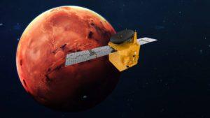 La sonda emiratí Hope (Esperanza), en órbita marciana (Ilustración).