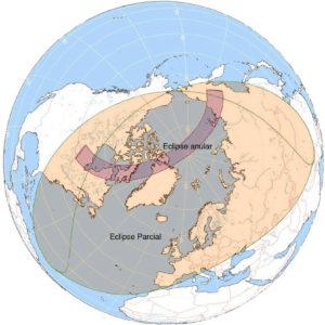 Gráfica del eclipse anular del próximo día 10. Parcial, casi rasante, en Ronda.