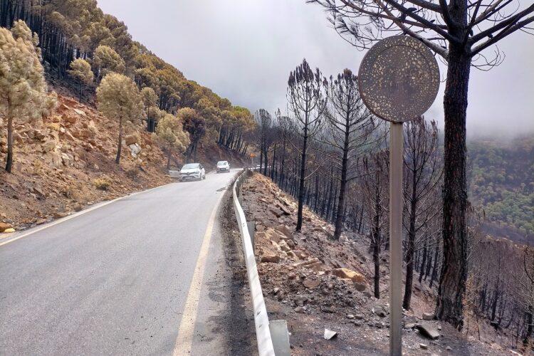 La Diputación inicia la reparación de las carreteras afectadas por el incendio de Sierra Bermeja con 648.000 euros